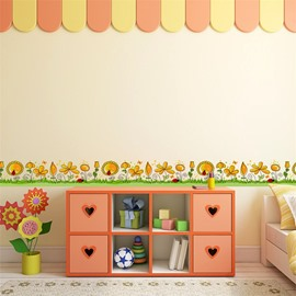 Yellow Flowers Printed PVC Waterproof Eco-friendly Baseboard Wall Stickers