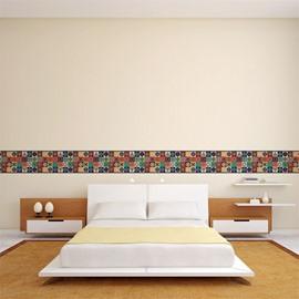Bohemian Pattern Printed PVC Waterproof Eco-friendly Baseboard Wall Stickers