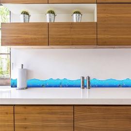 Blue Ocean Printed PVC Waterproof Eco-friendly Baseboard Wall Stickers