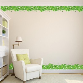Green Plants Printed PVC Waterproof Eco-friendly Baseboard Wall Stickers