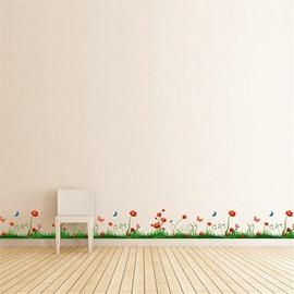 Grass Flowers Printed PVC Waterproof Eco-friendly Baseboard Wall Stickers