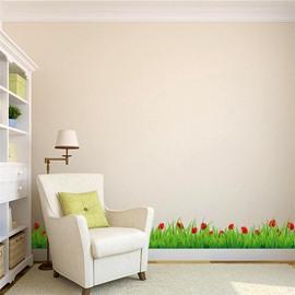 Green Lawn Pattern PVC Waterproof Eco-friendly Baseboard Wall Stickers