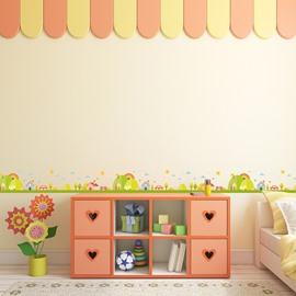 Green Trees Printed PVC Waterproof Eco-friendly Baseboard Wall Stickers