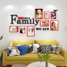 Photo Frame Rectangle Simple Style Acrylic 3D Waterproof Photo Frames Wall Stickers