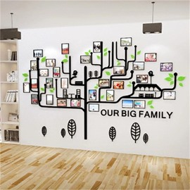 3D Acrylic Wall Stickers Photo Frames FamilyTree Wall Decal Easy to Install & Apply DIY Photo Gallery Frame Decor Sticker Home Art Decor