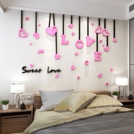 Gorgeous Love Shape and Words Pattern Living Room 3D Wall Sticker