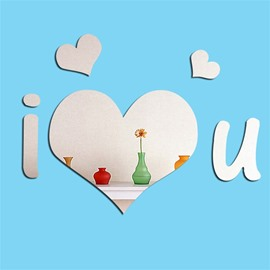 3D I Love You Letters Pattern Acrylic Mirror Surface Wall Sticker