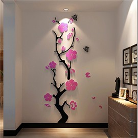 Plum Blossom Tree Pattern 3D Acrylic Wall Sticker