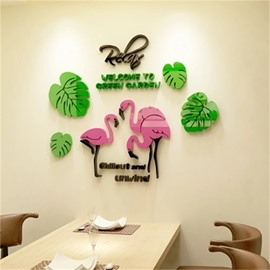 Leaf And Flamingo Pattern Cartoon Animal Acrylic Wall Sticker