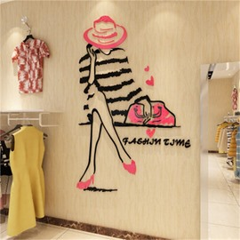 Cartoon Figure Small Girl Pattern 3D Acrylic Wall Sticker