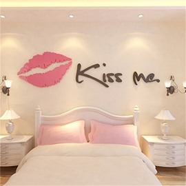 Letter Kiss Me And Big Mouth Pattern 3D Acrylic Wall Sticker