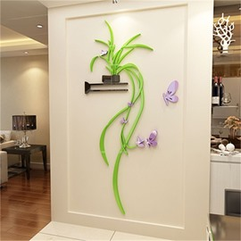 Colorful Chlorophytum Pattern Floristic Fashionable Acrylic 3D Sticker