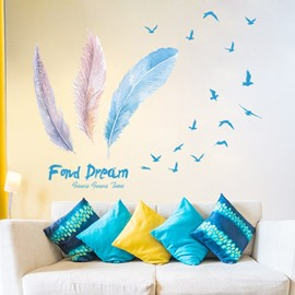 Creative Feather Pattern DIY Room Corridor Removable Waterproof Wall Sticker