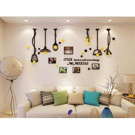 Creative Lights Pattern Family Photo Frame 3D Acrylic Waterproof Wall Sticker
