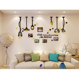 Creative Lights Pattern Family Photo Frame 3D Acrylic Waterproof Wall Sticker