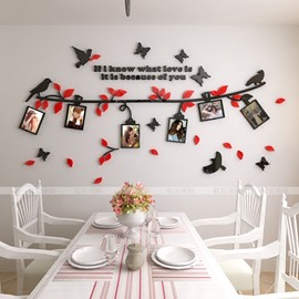 Birds On The Branch Pattern Family Photo Frame 3D Acrylic Wall Sticker