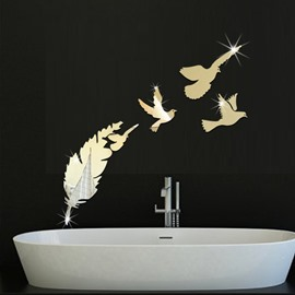 Leaf And Birds Creative 3D Acrylic Home Decor Waterproof Wall Sticker