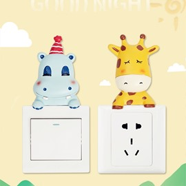 3D Resin Material Cartoon Animal Shape 8 Pattern Switch Removable Wall Sticker