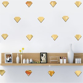 DIY 50 Pieces Diamond Shape 3D Acrylic Mirror TV and Sofa Background Wall Stickers