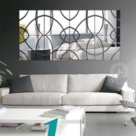 28 Pieces Square Shape 3D Acrylic DIY Mirror TV and Sofa Background Wall Stickers