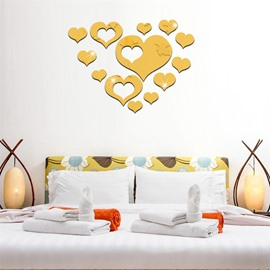13 Pieces Love Heart Shape 3D Acrylic DIY Mirror TV and Sofa Background Wall Stickers