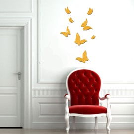 DIY 8 Pieces Butterfly Shape 3D Acrylic DIY Mirror TV and Sofa Background Wall Stickers
