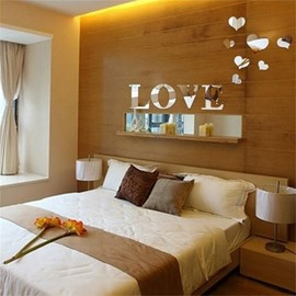 Love Heart And Letters Pattern 3D Mirror TV and Sofa Background Wall Stickers