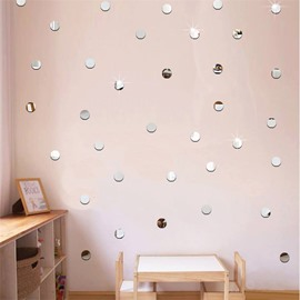 50 Pieces 5*5cm Round Shape 3D Mirror TV and Sofa Background Wall Stickers