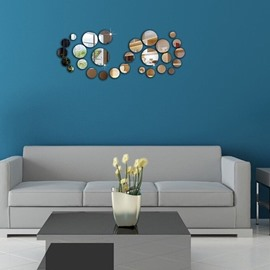 28 Piece Silver/Golden Mirror Round Shape 3D TV and Sofa Background Wall Stickers