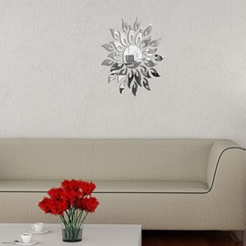 Silver/Golden Mirror Sun Shape 3D TV and Sofa Background Wall Stickers