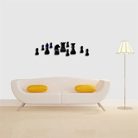 Creative Small Chess Pattern 3D Acrylic 3 Color TV And Sofa Background Wall Stickers