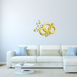 Creative Round Shape 3D Acrylic 3 Color TV And Sofa Background Wall Stickers