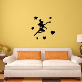 Classic Fairy And Star Pattern 3D Acrylic 3 Color TV And Sofa Background Wall Stickers