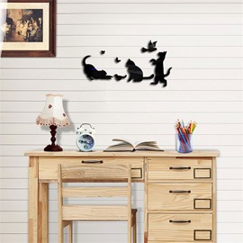 Funny Cats Pattern 3D Acrylic 3 Color TV And Sofa Background Wall Stickers