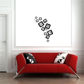 Creative Square Shape 3D Acrylic 3 Color TV And Sofa Background Wall Stickers