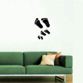 DIY Funny Footprint Pattern 3D Acrylic 3 Color TV And Sofa Background Wall Stickers