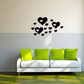Classic Love Heart Pattern 3D Acrylic 3 Color TV And Sofa Background Wall Stickers