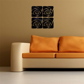 Creative Square Rose Pattern 3 Color 3D Acrylic TV And Sofa Background Wall Stickers