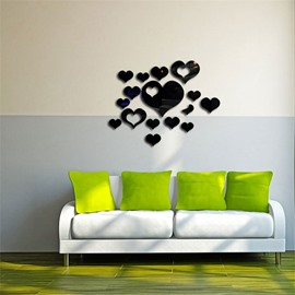 Love Heart Pattern 3 Color 3D Acrylic TV And Sofa Background Wall Stickers