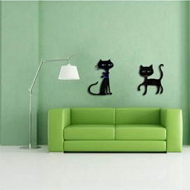 3 Color 3D Acrylic Two Cartoon Cats Pattern TV And Sofa Background Wall Stickers