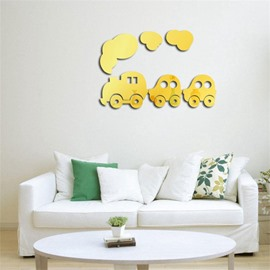 3 Color 3D Acrylic Cartoon Train PatternTV And Sofa Background Wall Stickers