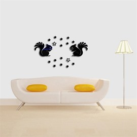 3D Acrylic 3 Color Two Squirrel PatternTV And Sofa Background Wall Stickers