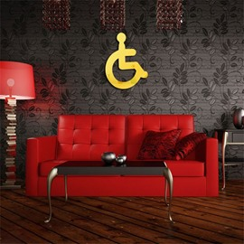 Wheelchair Pattern 3 Color 3D Acrylic TV And Sofa Background Wall Stickers