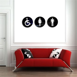 Creative Man/Woman Toilet Pattern 3D Acrylic 3 Color TV And Sofa Background Wall Stickers