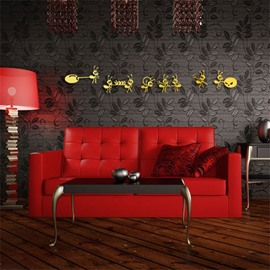 Cartoon Ants Pattern 3D Acrylic TV And Sofa Background Wall Stickers