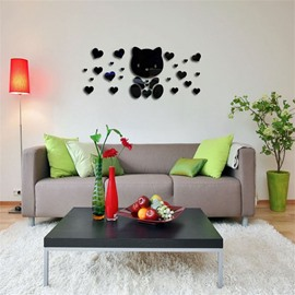 Love Heart And Bear Pattern 3D Acrylic TV And Sofa Background Wall Stickers