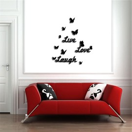 Funny Love Letter Pattern 3D Acrylic TV And Sofa Background Wall Stickers