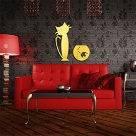 Cat With Fish Pattern 3D Acrylic TV And Sofa Background Wall Stickers