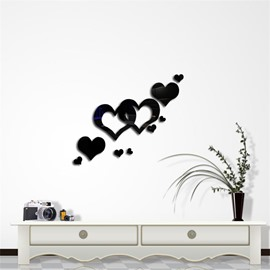 Love Heart Pattern 3D Acrylic TV And Sofa Background Wall Stickers