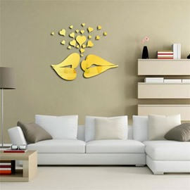 Creative Kissing Lips Pattern 3D Acrylic TV And Sofa Background Wall Stickers